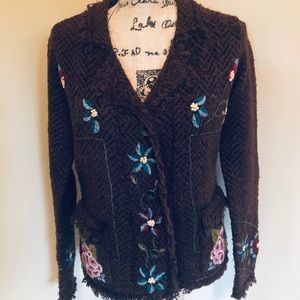 Sweater-jacket with herringbone background